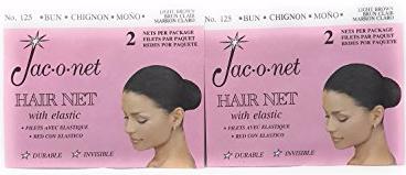 Jac-o-net Hairnet - Chignon Bun w Elastic - Light Brown, 2pk