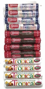 Necco Wafer Assorted, Chocolate, Tropical Candy Rolls, 12pk